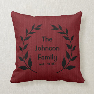 Burlap Print with Silhouette Family Name Throw Pillow