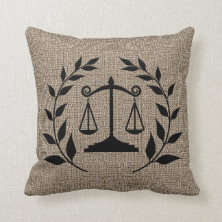 Burlap Print with Silhouette Scales of Justice Throw Pillow