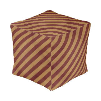 Burlap Red & Tan Stripes Pouf