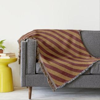 Burlap Red & Tan Stripes Throw Blanket