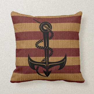 Burlap Red & Tan Stripes with Silhouette Anchor Throw Pillow