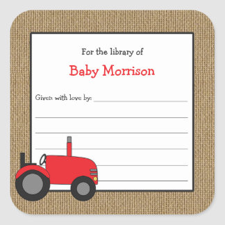 Burlap red tractor book baby shower bookplate square sticker