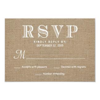 "Burlap RSVP Rustic Typography Wedding Reply 3.5"" X 5"" Invitation Card"