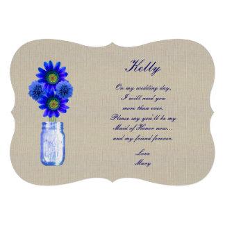 Burlap Rustic Blue Mason Jar Maid Of Honor Card