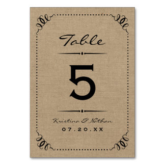 Burlap Rustic Chic Table Numbers