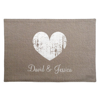 Burlap rustic country chic heart wedding placemats