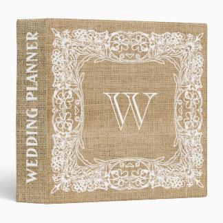 Burlap Rustic Faux Monogram Wedding lace Binder