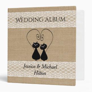 Burlap rustic funny cats in love wedding album vinyl binder