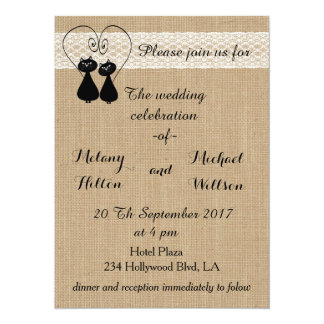 Burlap rustic funny cats in love wedding card