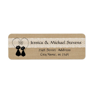 Burlap rustic funny cats in love wedding return address label