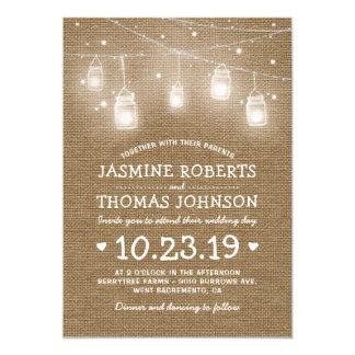 Burlap Rustic Mason Jar String Lights Wedding Card