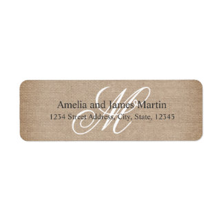 Burlap Rustic Monogram for Weddings Label