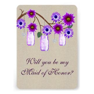 Burlap Rustic Purple Mason Jars Maid Of Honor Card