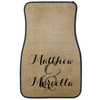 Burlap Rustic Style Personalized Couple Car Mat