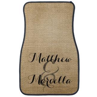 Burlap Rustic Style Personalized Couple Floor Mat