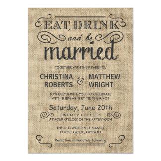 Burlap Rustic Style Wedding Invitations