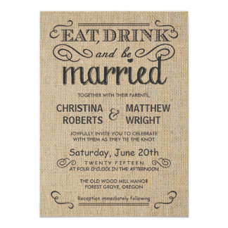 Burlap Rustic Style Wedding Invitations