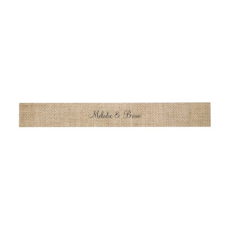 Burlap Rustic Wedding Couple Names Faux Texture Invitation Belly Band