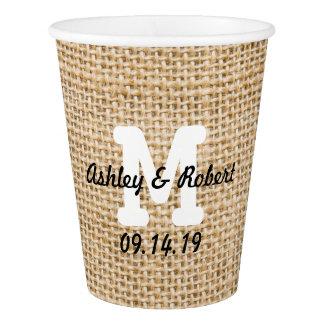 Burlap Rustic Wedding Reception Custom Monogram Paper Cup