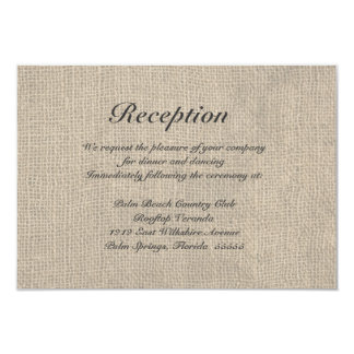 "Burlap Rustic Wedding Reception Directions Card 3.5"" X 5"" Invitation Card"