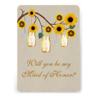Burlap Rustic Yellow Mason Jars Maid Of Honor Card