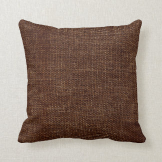 Burlap Simple Chocolate Brown Throw Pillows
