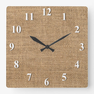Burlap Square Wall Clock