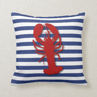 Burlap Stripe Print with Silhouette Red Lobster Throw Pillow