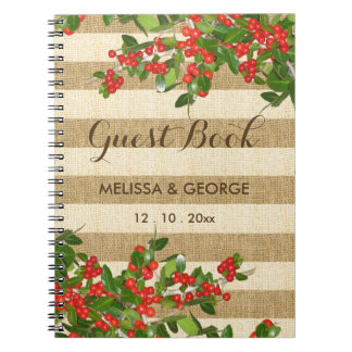 Burlap Stripes and Christmas Yaupon Holly Spiral Notebook