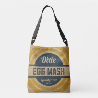 Burlap Style Vintage Feed Sack Egg Mash Crossbody Bag