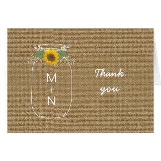 Burlap Sunflower Mason Jar wedding photo thank you Card