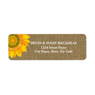 Burlap Sunflower Return Address Label