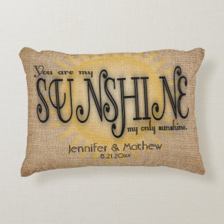 Burlap Sunshine Rustic Wedding Decorative Pillow