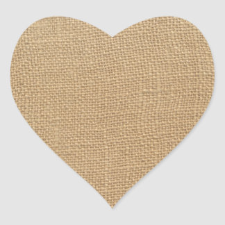 Burlap texture heart sticker