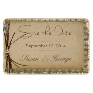 Burlap, Twigs and Twine Save the Date Magnet