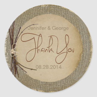 Burlap, Twigs and Twine Thank You ID132 Round Sticker