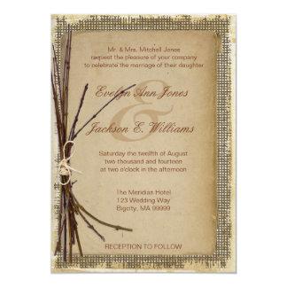 Burlap, Twigs and Twine Wedding ID132 Card