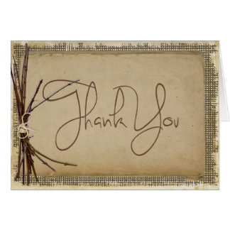 Burlap, Twigs and Twine Wedding Thank You ID132 Card