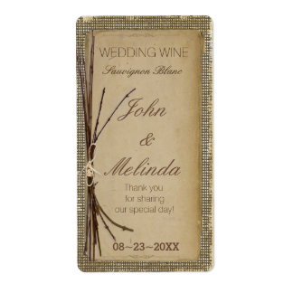 Burlap, Twigs and Twine Wedding Wine ID132 Shipping Label