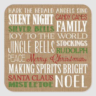 Burlap Typography Rustic Modern Holiday Sticker