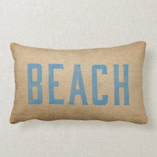 Burlap Vintage Beach Live Love Surf Blue Lumbar Pillow