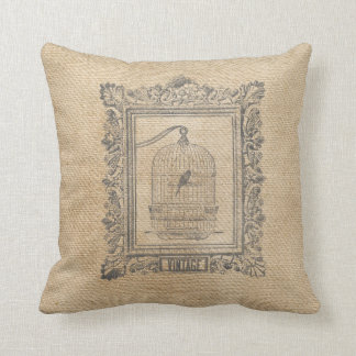 Burlap Vintage Bird Cage in Frame Throw Pillow