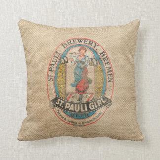 Burlap Vintage Brewery Beer Advertisement Throw Pillow