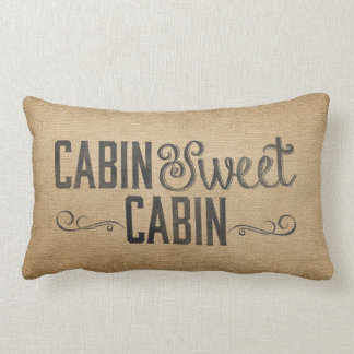 Burlap Vintage Cabin Sweet Cabin Lumbar Pillow