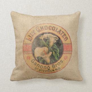 Burlap Vintage Chocolate Ad Throw Pillow