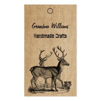 Burlap Vintage Deer Handmade Tags Business Card