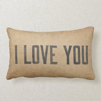Burlap Vintage I Love You Lumbar Pillow