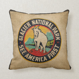 Burlap Vintage Label Glacier National Park Goat Throw Pillow