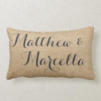 Burlap Vintage Personalized Wedding Names Date Lumbar Pillow