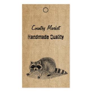 Burlap Vintage Racoon Handmade Tags Business Card Templates